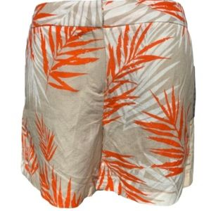 Sandro linen blend tan orange palm print shorts